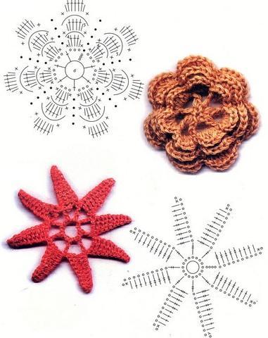 Цветы вязанные крючком. схемы
