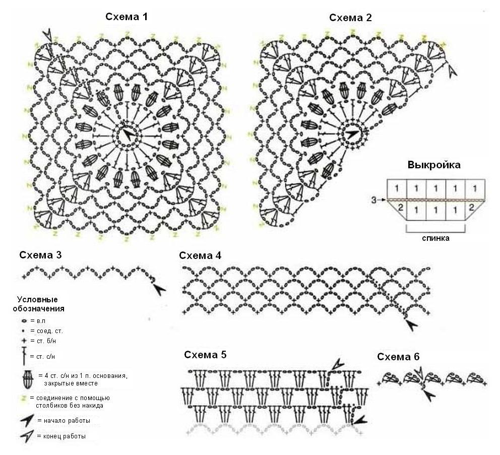 Вязание крючком одни схемы вязания без описаний 497
