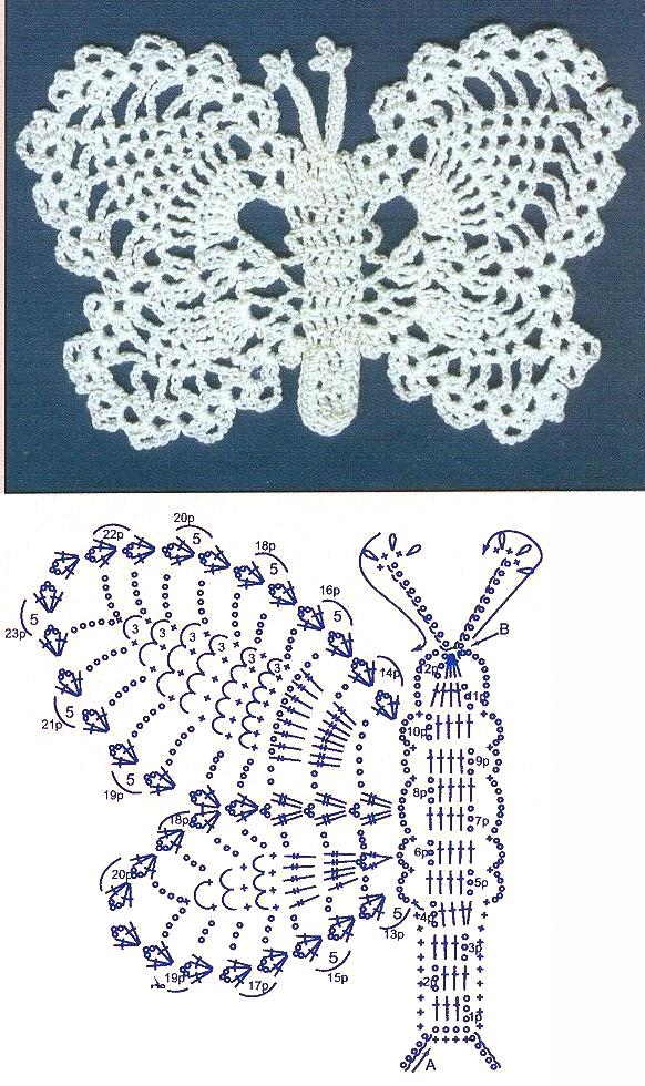 Вязаные салфетки бабочки