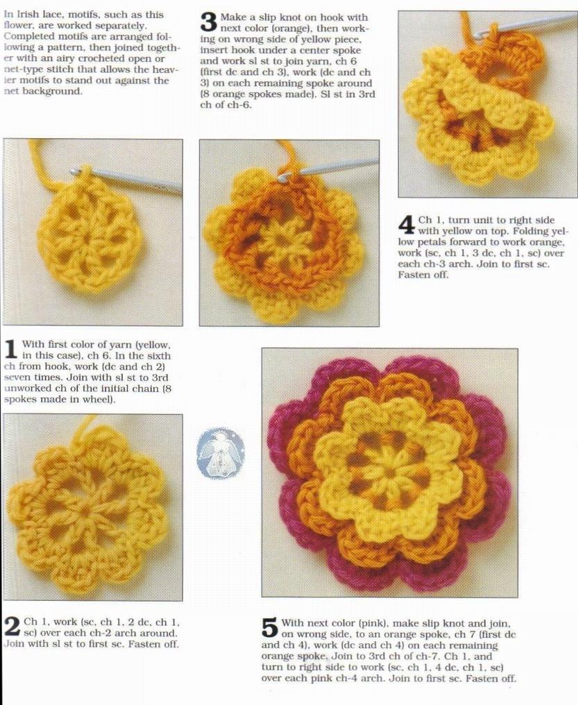 цветы крючком схемы вязания.
