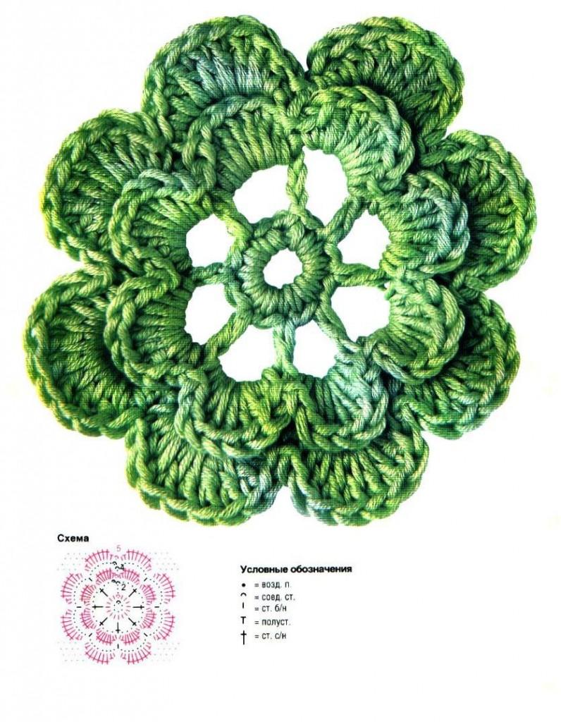 ажурные цветы крючком схемы.