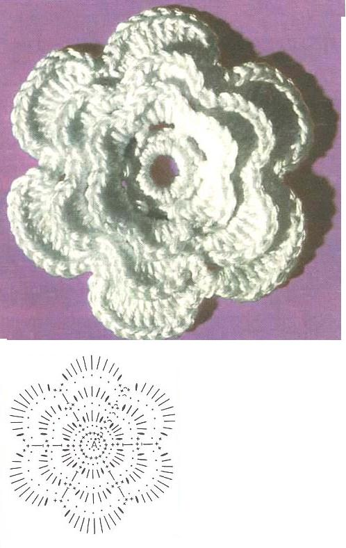 Цветок вязать по схеме мотива.  Начало вязания от точки А. 9 воздушных...