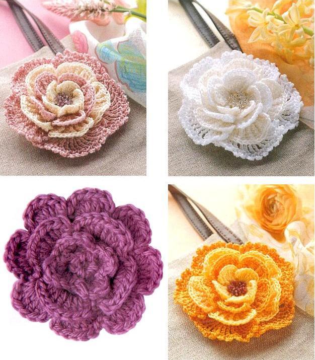 Схема вязание цветочков крючком.