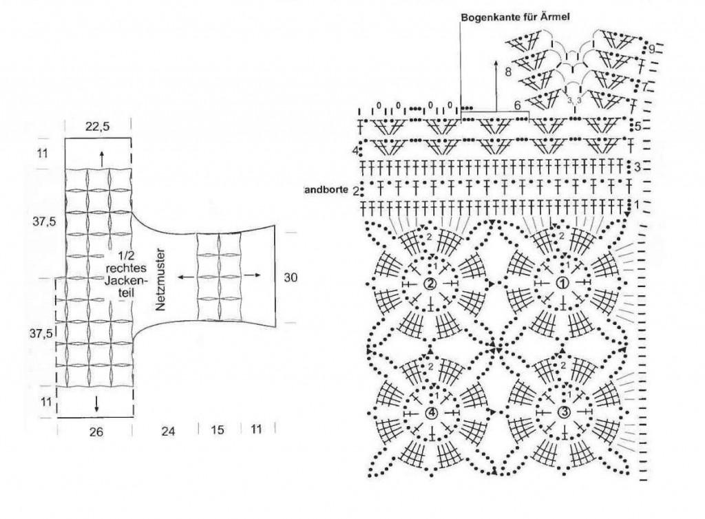 схема1 к цветочному жакету, связанному крючком