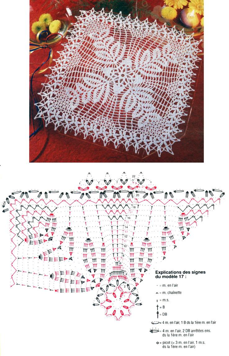 вязание крючком салфетки схема 3