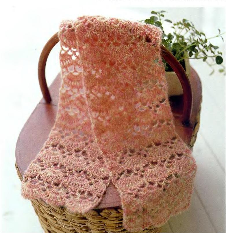 Схема теплого ажурного шарфа