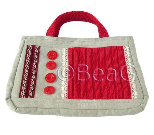 оформление вязаной сумки