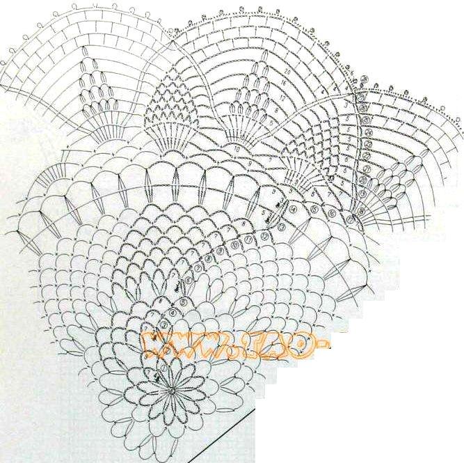 схема вязаной крючком салфетки