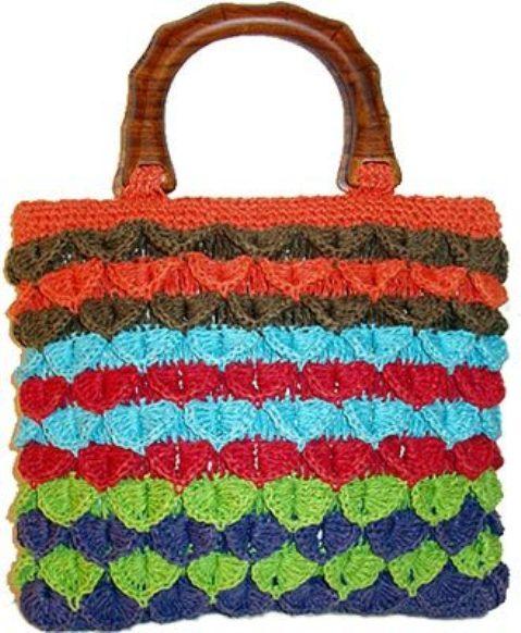 Описание: вязаные зеленые сумки крючок.