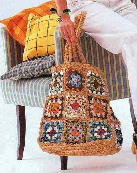 пляжная сумка крючком из мотивов.