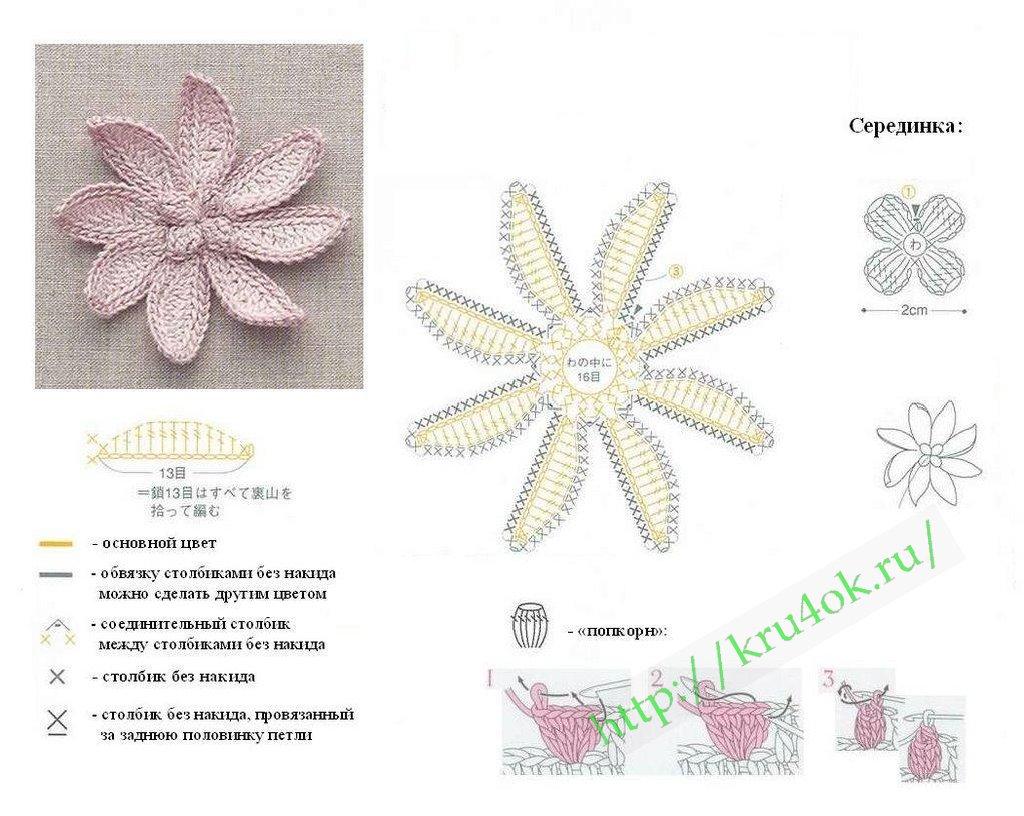 схема вязания цветка крючком 000074.