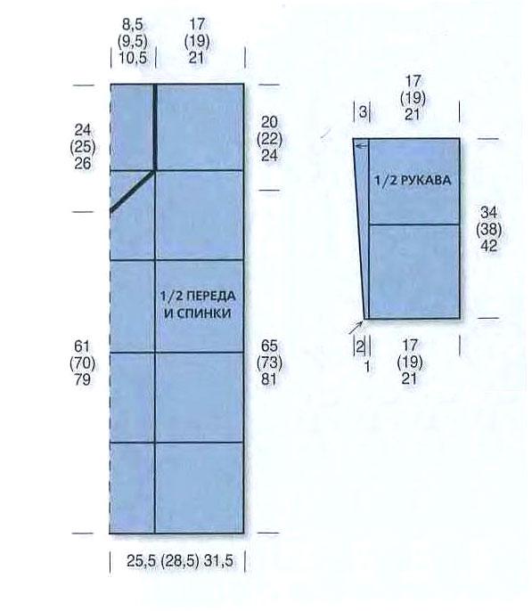 Для вязания туники из ажурных квадратов вам потребуется: 450 (550) 700...