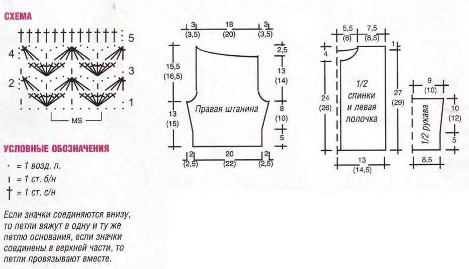 ЖАКЕТ СПИНКА: связать цепочку из 67 (73) возд. п. + 1 возд. п. подъема.  Выполнить 7 р. каймы и вязать основным...