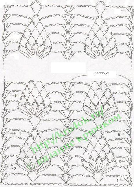 Вязаный ажурный шарфик: схема для вязания крючком.