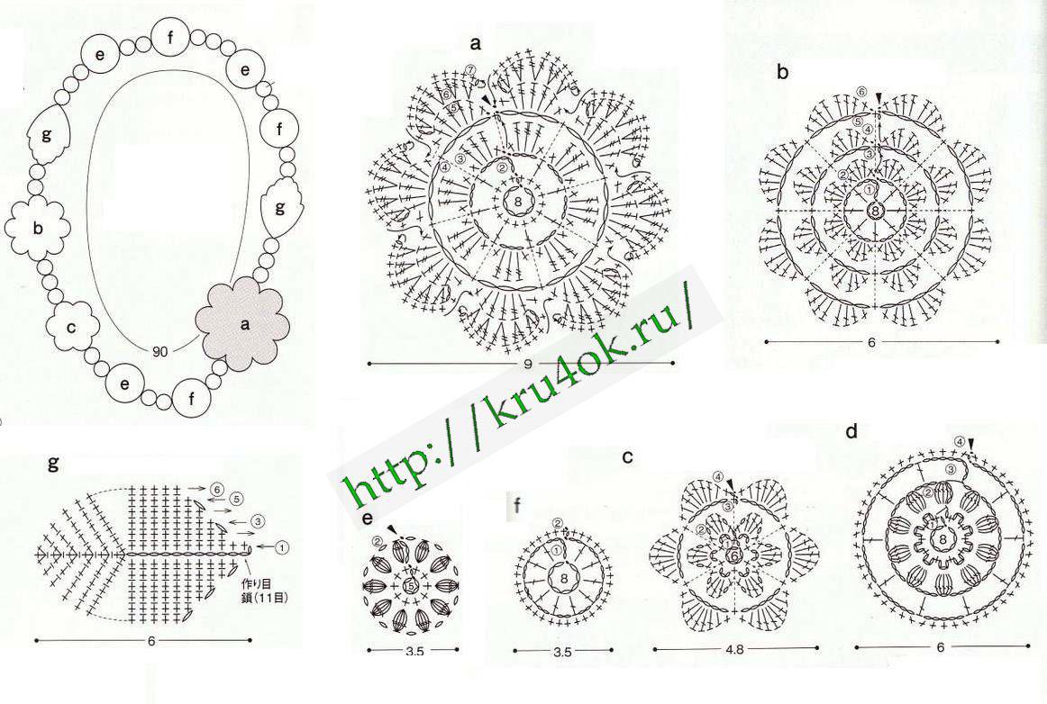 Вязаные крючком цветы, схема / Вязание, вязание платья с лентами и.