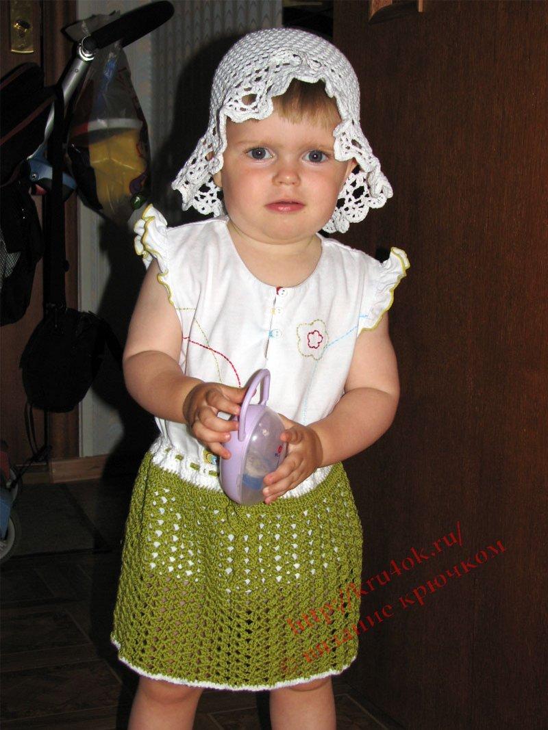 Юбка для девочки Эта модель одна из самых обычных в вязании для малышей крючком.