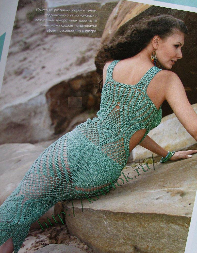 вязаное платье - спинка