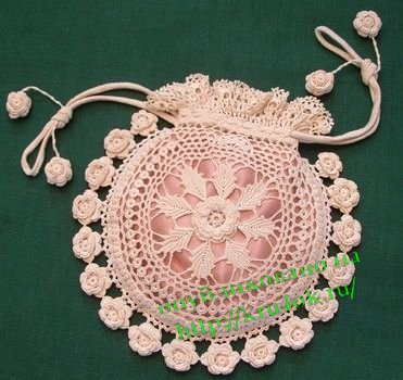 Crocheting: Rings and Roses Irish Crochet Purse.