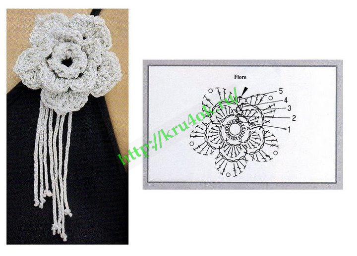 схема к первому фото, цветок справа: схема к первому фото, цветок слева: Модель 2: еще один Вязание цветов очень...