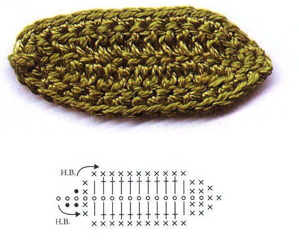 схема вязания листьев крючком