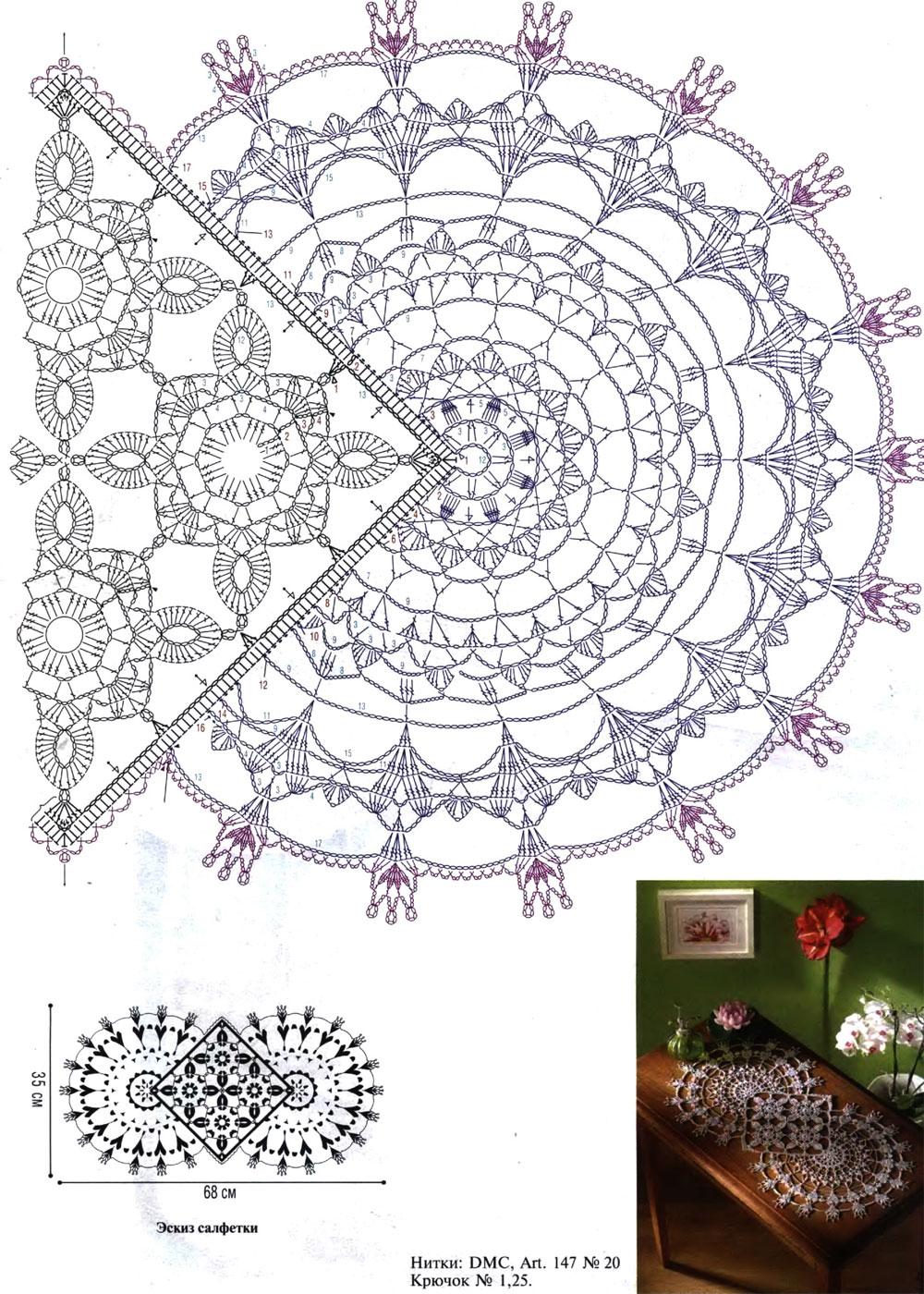 Вязание крючком круглых салфеток. схемы