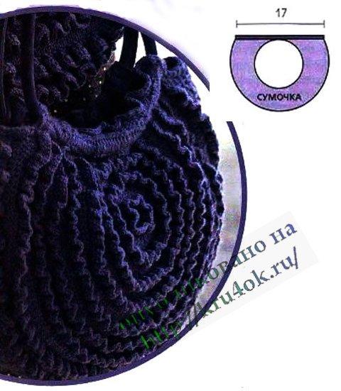 круглая сумочка, связанная крючком