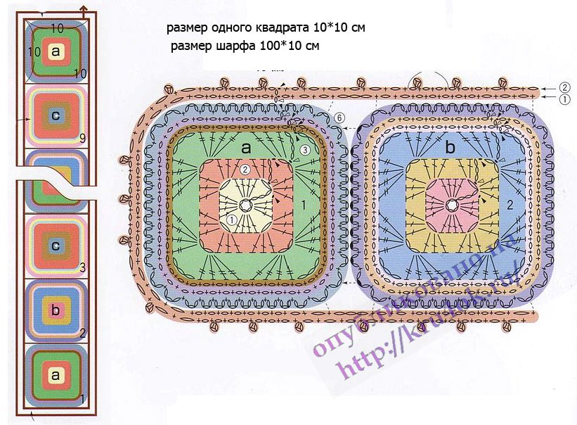 схема шарфа из мотивов бабушки квадрат