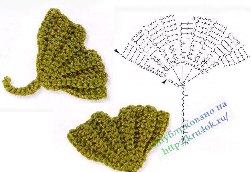 Схемы цветов и Листиков крючком. вязаный лист.