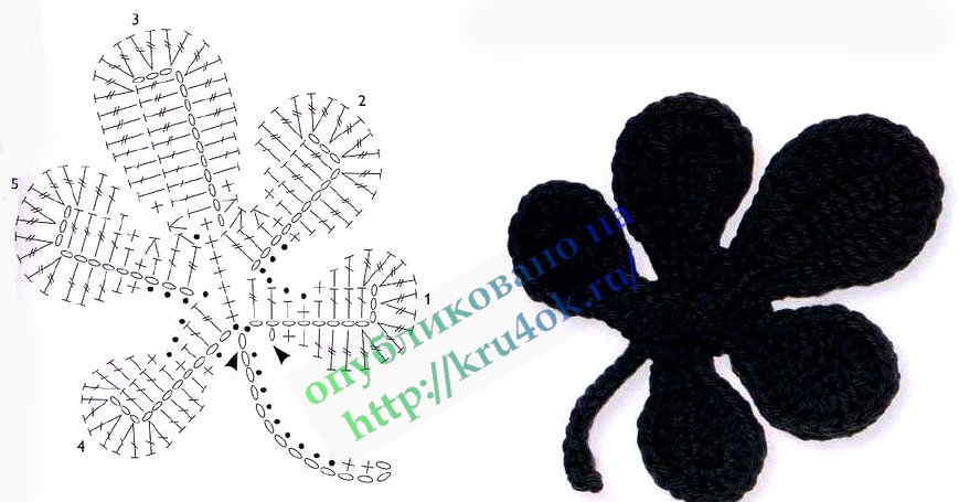 Двухслойный цветок крючком схема. вязаный лист.