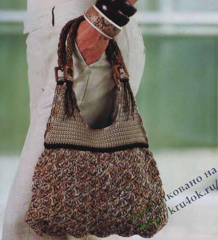 Теги: Круглая сумка с цветком Сумка крючком Вязаные сумки.