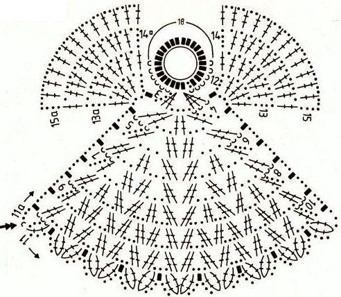 Схема вязания ангела 1. вязание крючком ангелов.  Ангел с цветком.