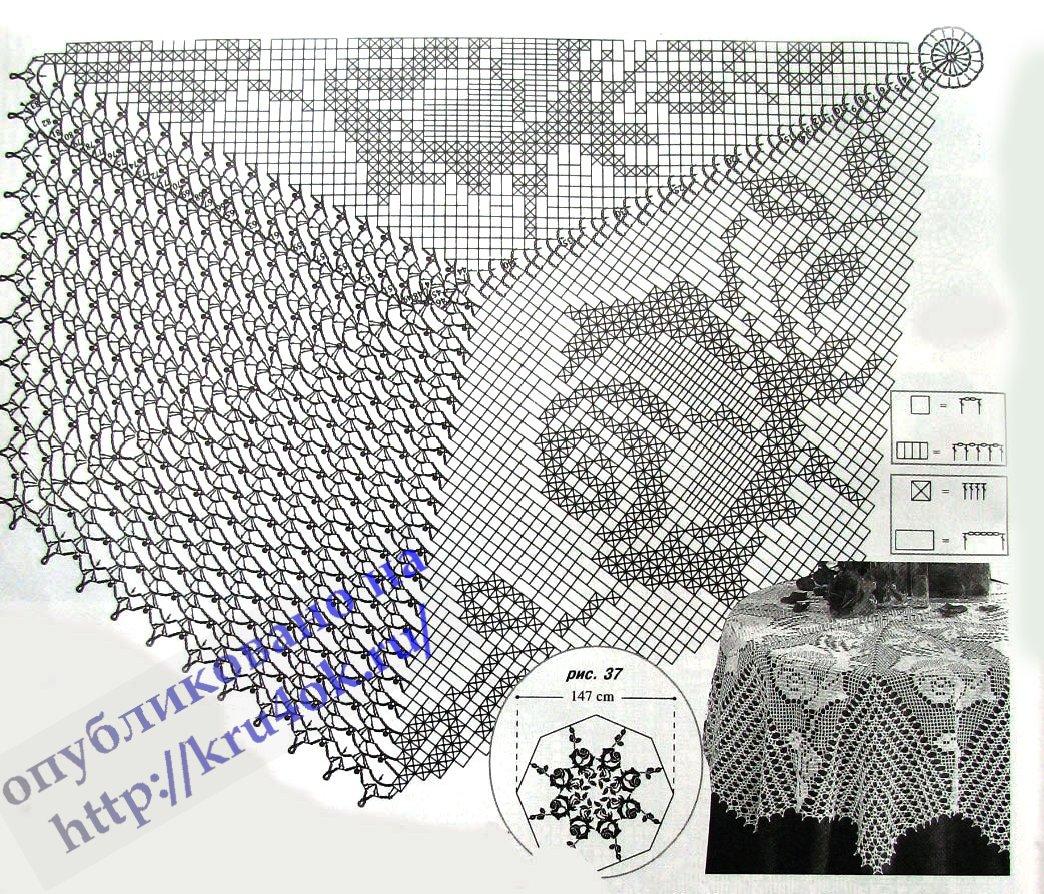 схема вязаного мужского шарфа.