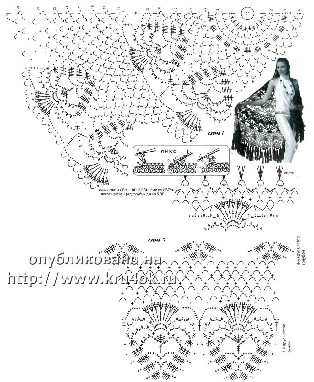 Схема шалей вязанных крючком фото 553