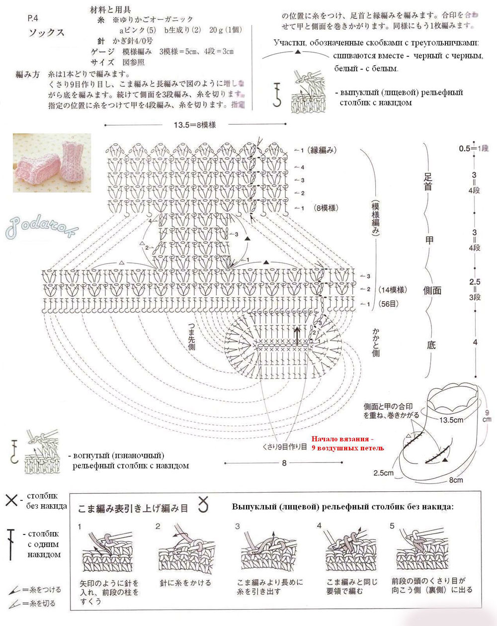 пинетки кеды спицами описание и схема