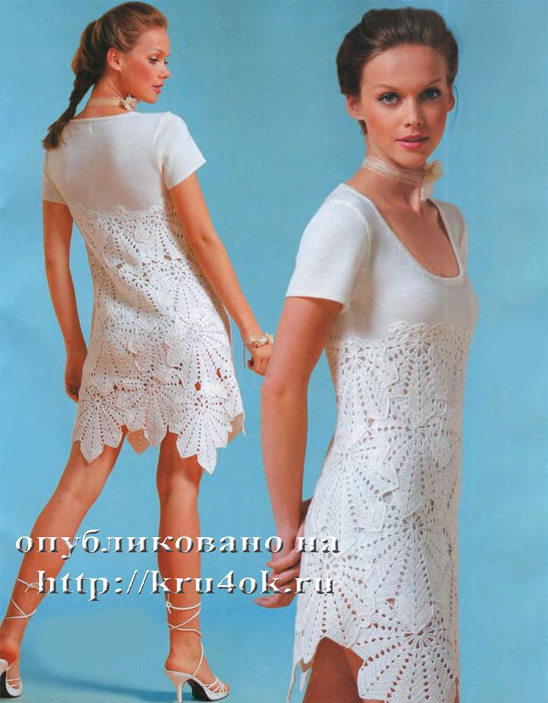 Схемы женских платьев крючком из мотивов