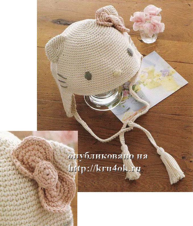 Описание: шапочка Китти - вязание крючком на kru4ok