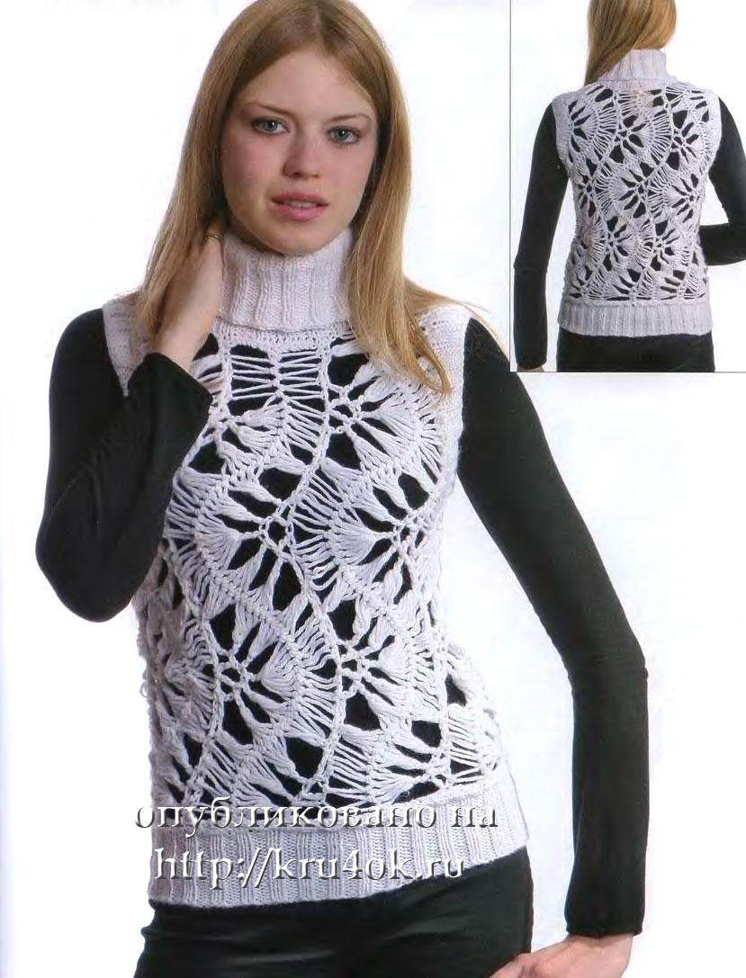 Объём груди = 85 см Для вязания жилета потребуются: 300 г белых нитей...
