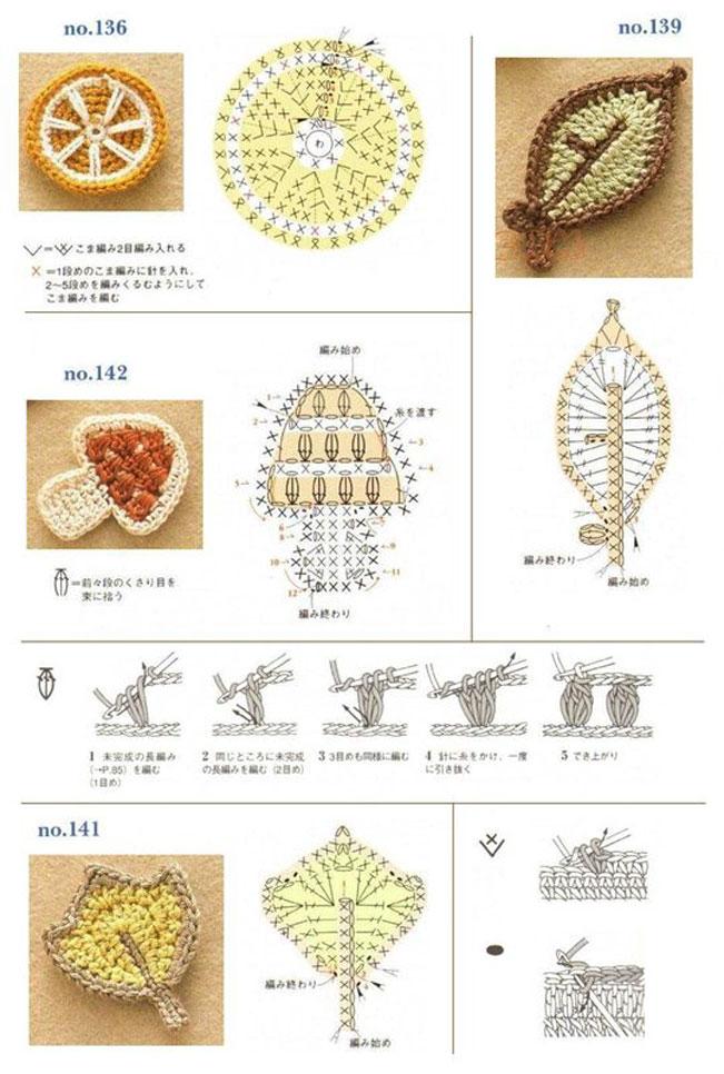 схемы вязаных фруктов.