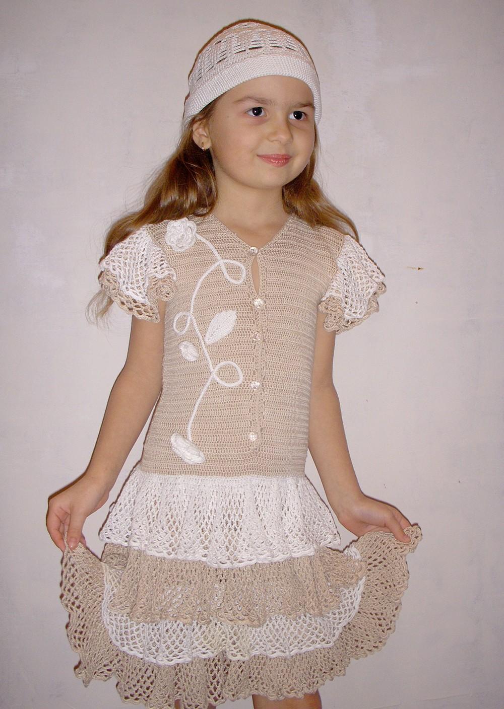 """Платье  """"очаровашка """".  Оригинал и схемы можно найти в журнале  """"Каприз моды """" 7 /2008 г. Размер: 32 (рост 129 -134 см)..."""