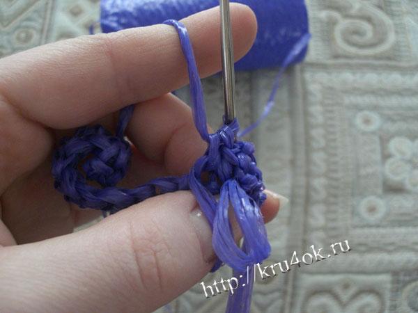 Вязание крючком мочалки.