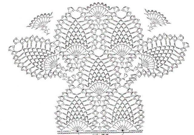 """Схема вязания юбки ананасами Схема вязания...  Вязание крючком; Вязание он- Схема  """"Ананас """" Вязание крючком."""