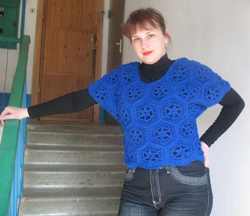 Синий жилет от Марины Милокумовой