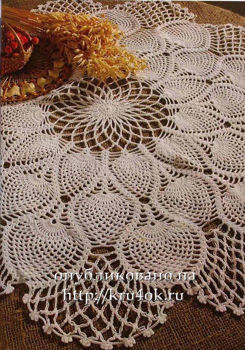 Несложная скатерть - 1 коммент.  Схема для вязания крючком скатерти из хлопковой пряжи.  Схемы скатертей и салфеток.