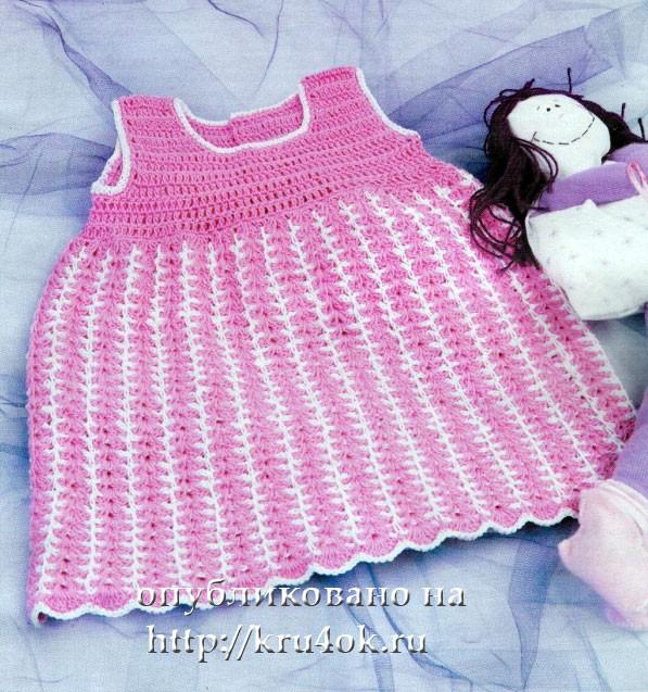 Вязаный крючком сарафан для девочки. http://baby-knit.blogspot.com/2009/10/blog-post_09.html.  Прочитать целикомВ.