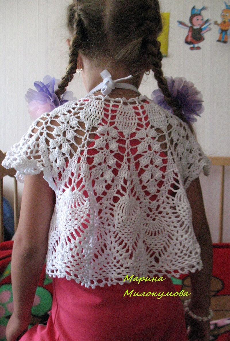 Вязаное болеро для девочки.  Эту работу прислала наша постоянная читательница и рукодельница Марина Милокумова.