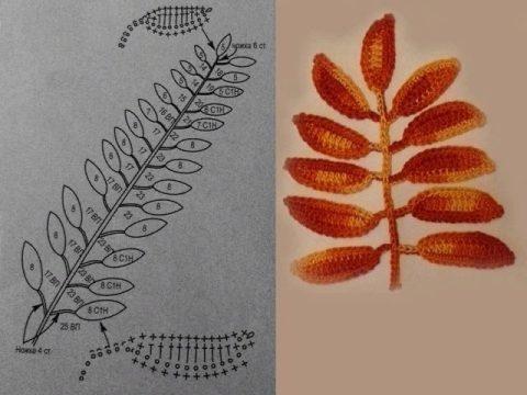 листья крючком, схемы вязания