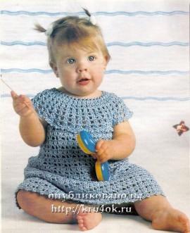 Детское платье крючком на круглой кокетке.