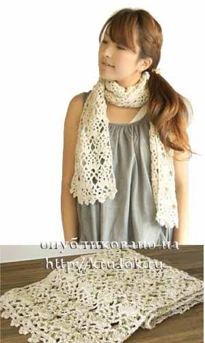 Вязаный шарф хомут схема.