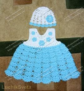 """Размер: на девочку 1-2 лет.  Для вязания я использовала нитки  """"Джинс """": 2 мотка голубых и 1 моток (моточки..."""