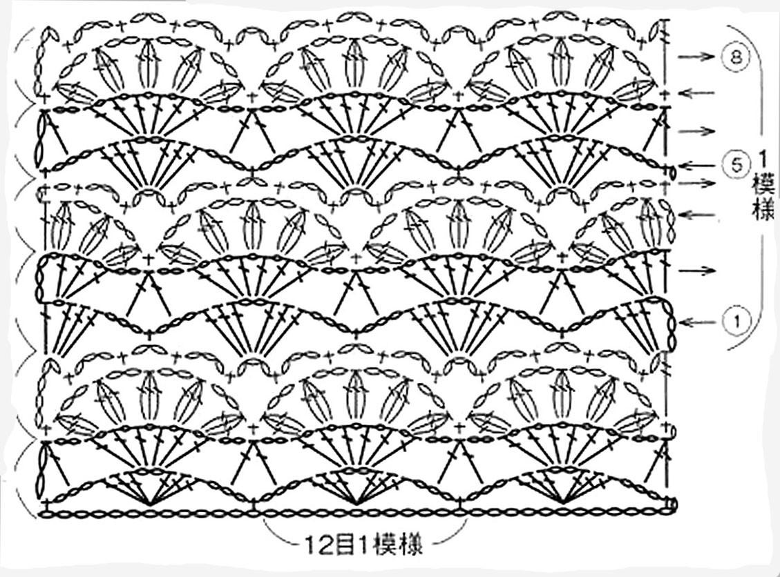 Вязание узор лилии
